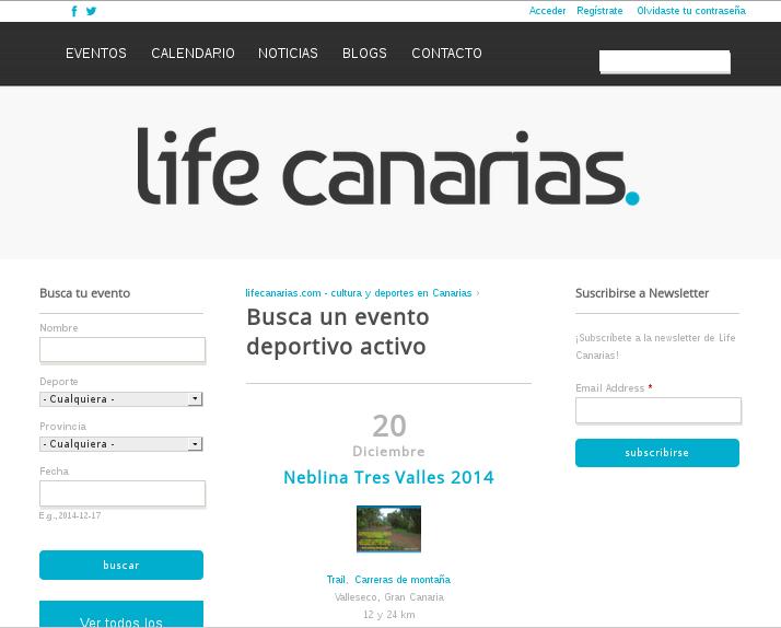 Desarrollo de páginas web: agenda online de eventos de deporte y cultura en canarias
