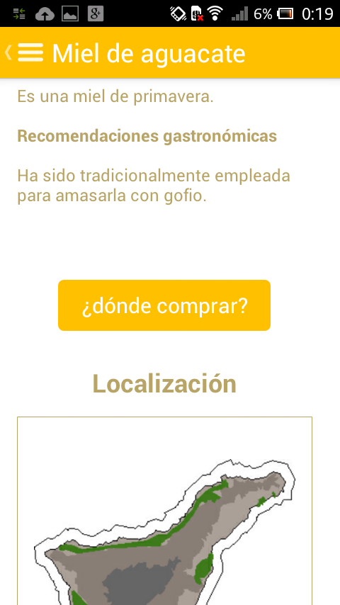 Desarrollo de aplicaciones para móviles: productos Miel de Tenerife